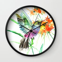 Hummignbird and Flowers Wall Clock