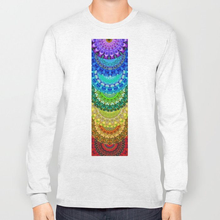 Chakra Mandala Healing Art by Sharon Cummings Long Sleeve T-shirt