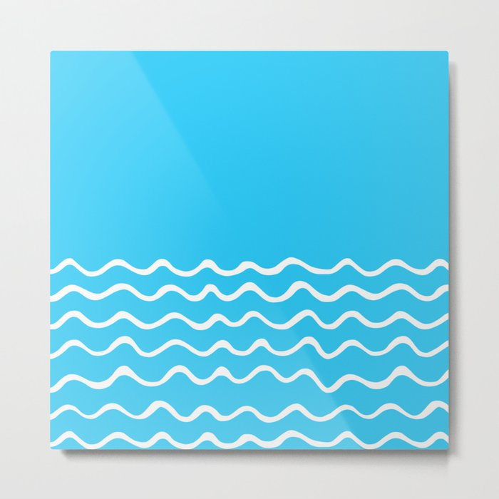 Simple aqua and white handrawn waves 1 - for your summer on #Society6 Metal Print