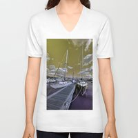 marina V-neck T-shirts featuring Cowes Marina  by Rob Hawkins Photography