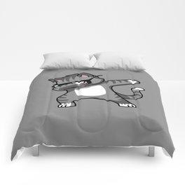 Dabbing Cat Grey Comforters