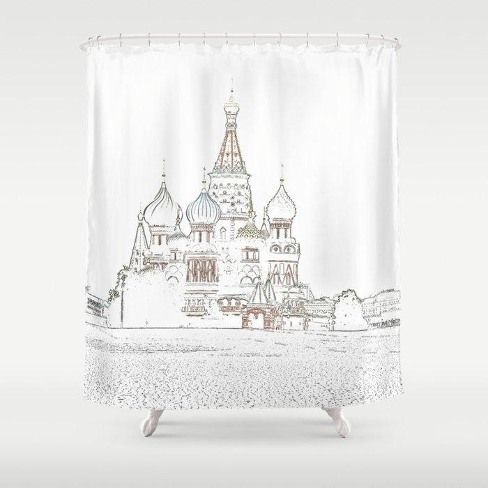 Saint Basil's Cathedral (on white) Shower Curtain