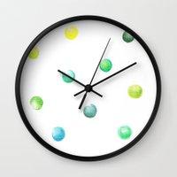 polka dot Wall Clocks featuring Polka dot by Jen Eva