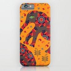 Cute elephants in orange background iPhone 6 Slim Case