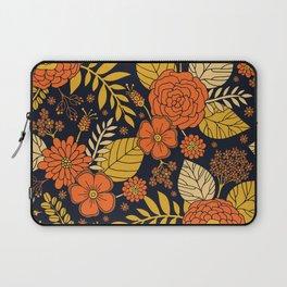 Retro Orange, Yellow, Brown, & Navy Floral Pattern Laptop Sleeve