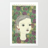 moustache Art Prints featuring moustache by Willy Ollero