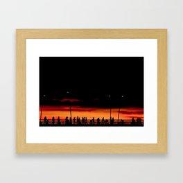 Sunset walk over the bridge Framed Art Print