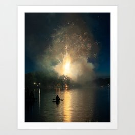 Fireworks on Crystal Lake Art Print