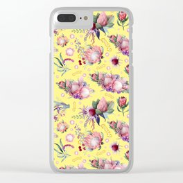 Australian Native Floral Pattern - Protea Flowers Clear iPhone Case