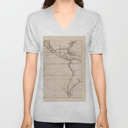 South Sea North And South America Vintage Map Unisex V-Neck