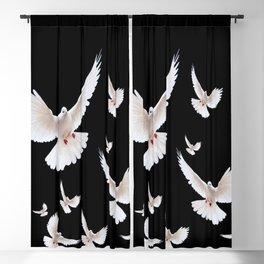 FLOCK OF WHITE DOVES ON BLACK ART Blackout Curtain