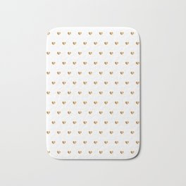 Small gold hearts pattern on white Bath Mat