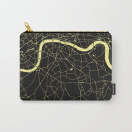 London Black on Yellow Street Map Carry-All Pouch
