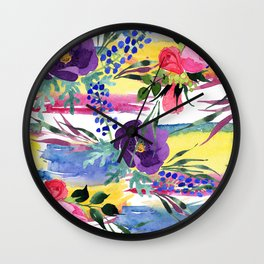 Purple Pansies With Pink Roses Watercolor Pastel Pattern Wall Clock