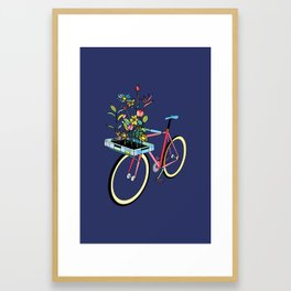 Bike and Flowers Framed Art Print
