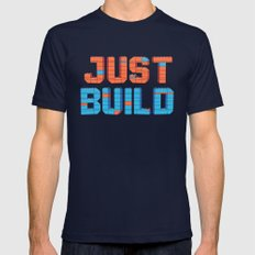 Just Build MEDIUM Mens Fitted Tee Navy