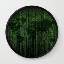 World Map Matrix Code Data Networking Espionage Web Green Wall Clock