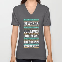 Lab No. 4 One's Philosophy Is Not Best Expressed Eleanor Roosevelt Life Inspirational Quote Unisex V-Neck