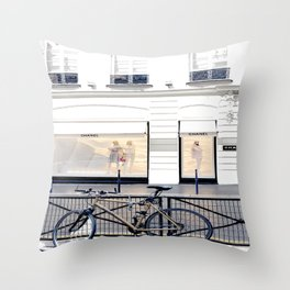 boutique coco paris and bicycle Throw Pillow