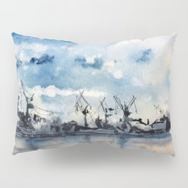 Original Watercolor Landscape of a Stormy Sky over the Gulf of Finland Pillow Sham