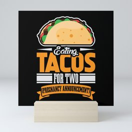 Eating Tacos for two Pregnancy Announcement Mini Art Print