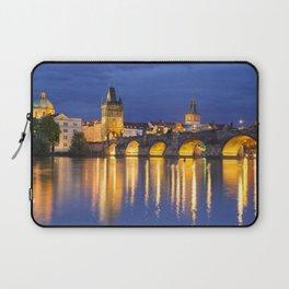 The Charles Bridge in Prague, Czech Republic at night Laptop Sleeve