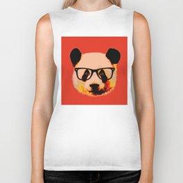 Panda with Nerd Glasses in Red Biker Tank