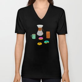 Donuts and Coffee Unisex V-Neck