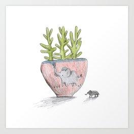 Succulent in Elephant Planter Art Print