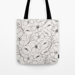 Floral Simplicity - Neutral Black Tote Bag