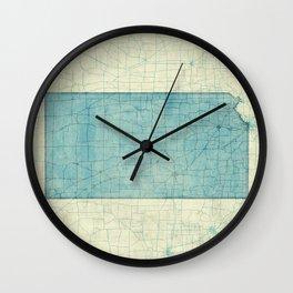 Kansas State Map Blue Vintage Wall Clock