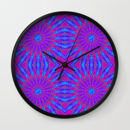 Fuchsia Purple Blue Pinwheel Flowers Wall Clock