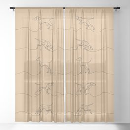 Continuous Line Weimaraners (Camel Background) Sheer Curtain