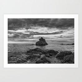 Cala dels frales de Lloret de Mar in black and white Art Print