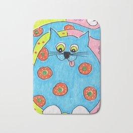 Blue Fat cat Bath Mat