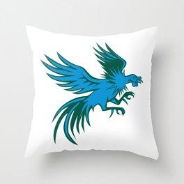 Fighting Cock Shuffling Retro Throw Pillow