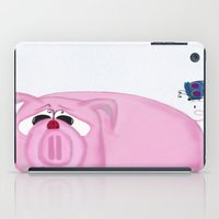 piglet iPad Cases featuring Chumley The Pig And His Visitors by One Artsy Momma