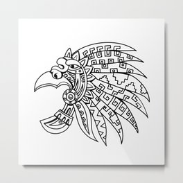 Aztec Feathered Headdress Drawing Black and White Metal Print
