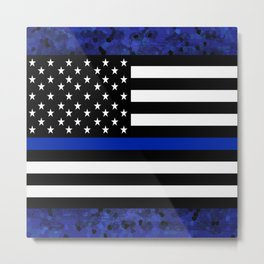 Blue Police Flag with Officers Metal Print