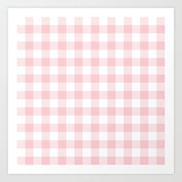 Large Valentine Soft Blush Pink and White Buffalo Check Plaid Art Print