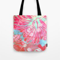 aelwen Tote Bags featuring Blue Water Hibiscus Snowfall by Vikki Salmela