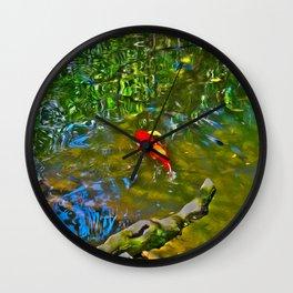 Water Reflections and Koi Fish (oil) Wall Clock