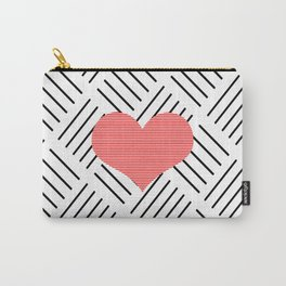 Red heart - Abstract geometric pattern - black and white. Carry-All Pouch