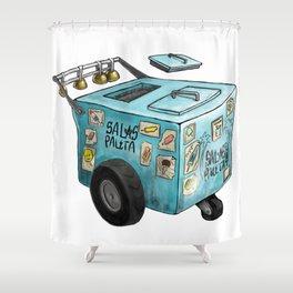 Blue Paletero Ice Cream Cart Shower Curtain
