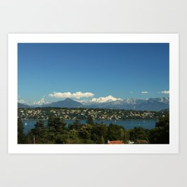 Mont-Blanc and Leman lake Art Print