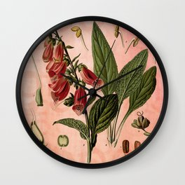 Vintage Botanical Illustration Collage, Foxgloves, Digitalis Purpurea Wall Clock