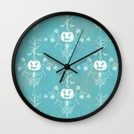 Vintage Halloween in Turquoise Wall Clock