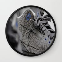 air jordan Wall Clocks featuring Air Jordan Retro 3 GS by TJAguilar Photos