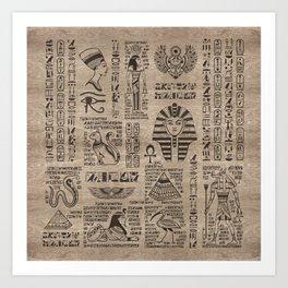 Egyptian hieroglyphs and symbols on wood Art Print