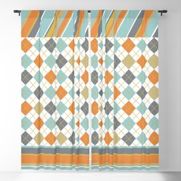 Retro 1980s Argyle and Stripes Geometric Blackout Curtain